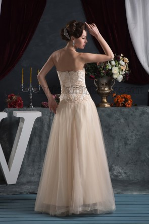 Strapless A-Line Floor Length Embroidered Evening Prom Dresses