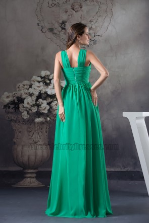 Long Hunter A-Line Chiffon Beaded Bridesmaid Prom Dress