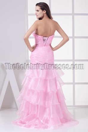 New Style Pink Organza Strapless Formal Dress Prom Gown