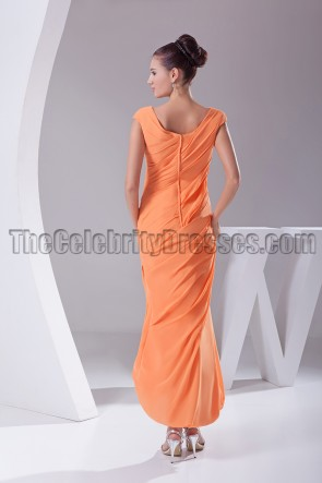 New Style Orange Chiffon Prom Gown Evening Dresses