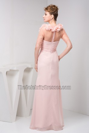 Pearl Pink Chiffon Prom Gown Bridesmaid Evening Dresses