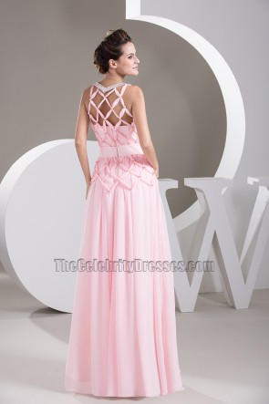 Gorgeous Pink Sleeveless Chiffon Prom Dress Evening Gown