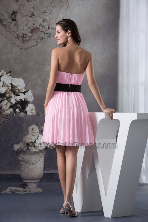 Pink Strapless A-Line Cocktail Graduation Party Dresses