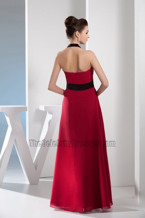 Red And Black Chiffon Halter Prom Dress Evening Gown