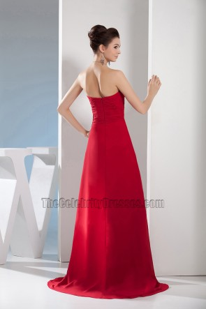 Red Strapless Sweetheart Prom Dress Evening Gown