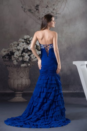 Royal Blue Sweetheart Beaded Prom Gown Formal Evening Dress
