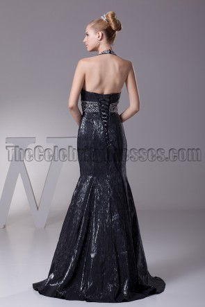 Sexy Black Beaded Halter Evening Prom Dresses