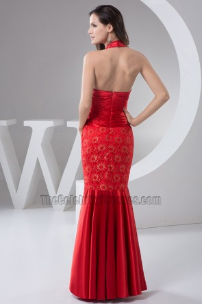 Sexy Red Halter Mermaid Evening Dress Prom Gown