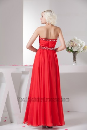 Sexy Red Strapless Beaded Chiffon Prom Gown Evening Dresses