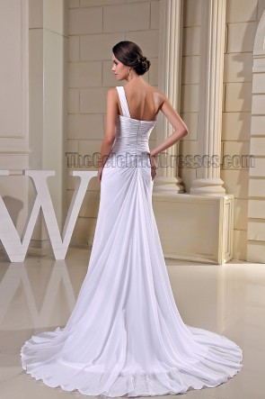 Sheath/ Column White One Shoulder Prom Gown Formal Dresses