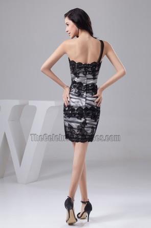 Sheath/Column One Shoulder Tulle Party Graduation Dresses