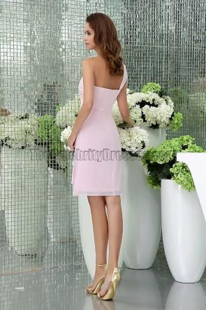 Sheath/Column Pink One Shoulder Cocktail Short Bridesmaid Dresses
