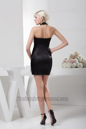 Sheath/Column Short Black Halter Beaded Party Cocktail Dresses