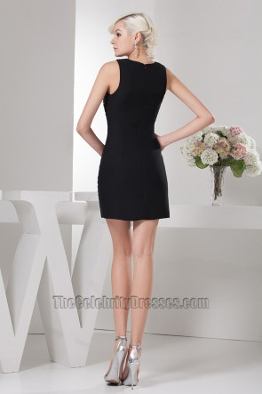 Sheath/Column Short Mini Beaded Black Party Homecoming Dresses