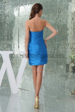 Sheath/Column Short Strapless Royal Blue Party Homecoming Dresses