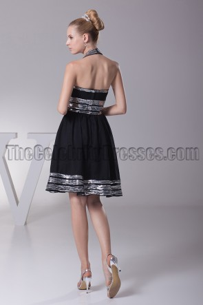 Short Halter A-Line Little Black Party Homecoming Dresses
