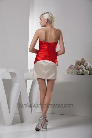 Short Strapless Red And Champagne Party Homecoming Dresses