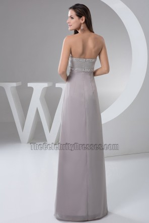 Silver Sweetheart Strapless Beaded Evening Dress Prom Gown