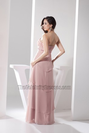 Skin Pink Strapless Chiffon Prom Dress Bridesmaid Evening Gown