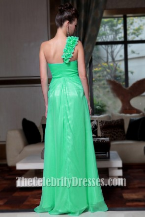 Stunning Green One Shoulder Chiffon Prom Gown Evening Dresses