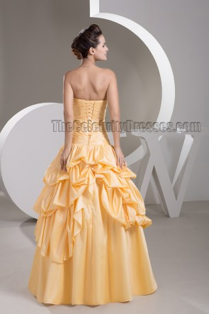 Yellow Strapless Sweetheart A-Line Beaded Formal Dress Prom Gown