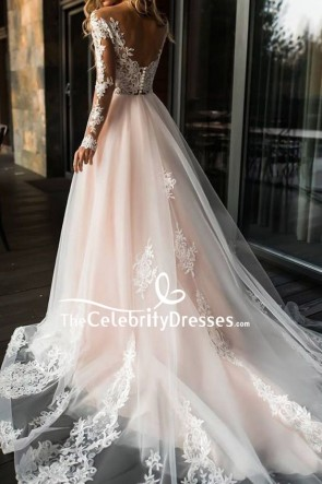 A-line Applique Wedding Dress With Long Sleeves