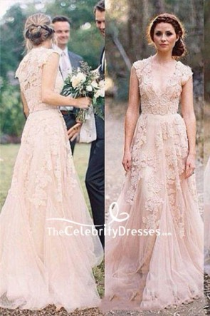 A-line Deep V-neck Applique Wedding Dress