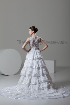 A-Line Chapel Train Sleeveless Wedding Dress With Beading