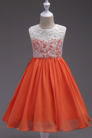 A-line Chiffon Lace Flower Girl Dress