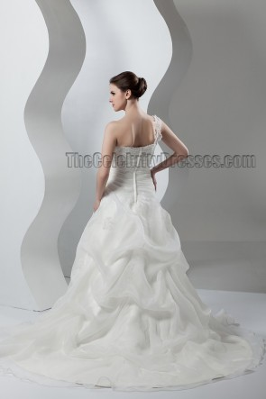 A-Line One Shoulder Sweep/Brush Train Wedding Dresses