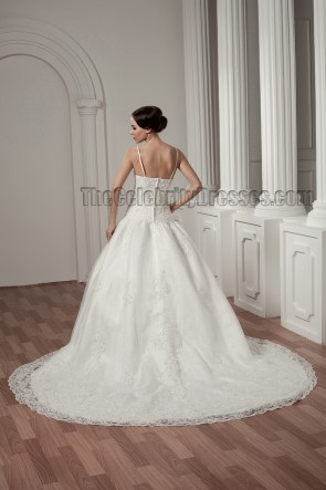 A-Line Spaghetti Straps Embroidered Chapel Train Wedding Dress