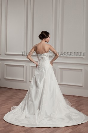 A-Line Strapless Embroidered Chapel Trian Wedding Dresses