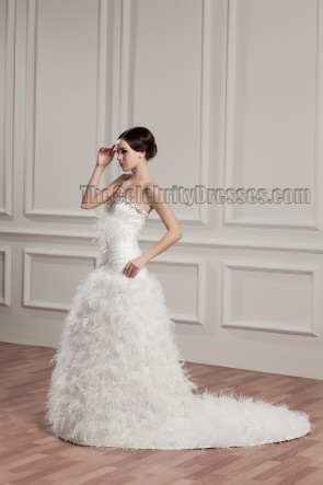 A-Line Strapless Sweetheart Feather Beaded Wedding Dresses