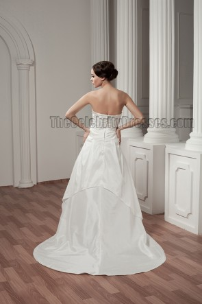 A-Line Strapless Taffeta Sweep/Brush Train Wedding Dresses