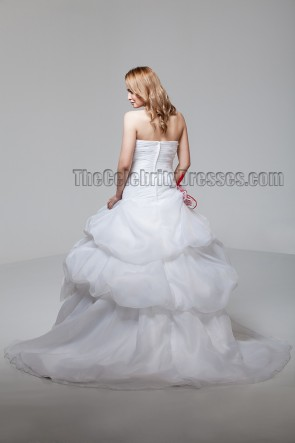 A-Line Sweetheart Strapless Organza Wedding Dresses