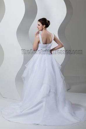 A-Line V-Neck Organza Chapel Train Wedding Dresses