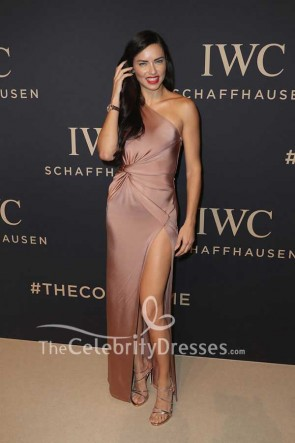 Adriana Lima One-shoulder Thigh-high Slit Slip Evening Dress IWC Gala Beauty of Time at SIHH 2017