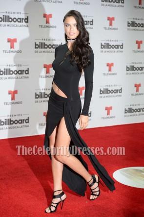Adriana Lima アドリアナリマ 黒の高スリットカットアウトイブニングウエディングドレスビルボードラテン音楽賞2016