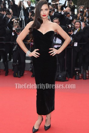 Adriana Lima Black Strapless Cocktail Dress 68th annual Cannes Film Festival 2