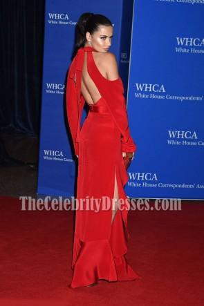 Adriana Lima アドリアナリマ レッドカットアウトコールドショルダーイブニングウエディングドレス第102代ホワイトハウス通信員協会ディナー