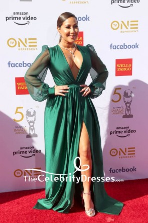 Adrienne Bailon Hunter Green Low V-neck A-line High Slit Evening Dress 2019 NAACP Awards