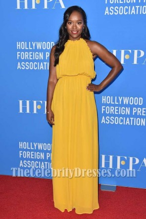Aja Naomi King Yellow Halter Chiffon Evening Maxi Dress HFPA Grants Banquet