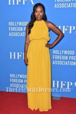 Aja Naomi King Yellow Halter Chiffon Evening Maxi Dress HFPA Grants Banquet