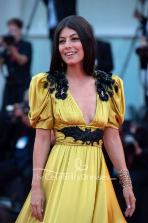 Alessandra Mastronardi Yellow Beaded Evening Dress Venice Film Festival 2019 TCD8633