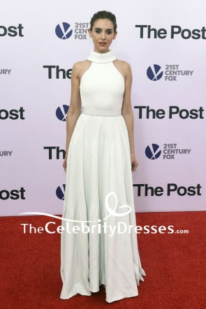 Alison Brie Halter Mint Green A-line Evening Dress The Post Washington DC Premiere Red Carpet