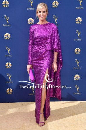 Allison Janney Sexy Thigh-high Slit Sequin Dress With Sleeves 2018 Emmys
