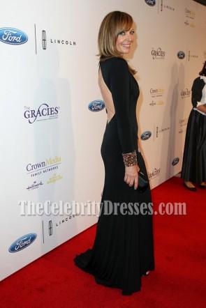 Allison Janneyブラックロングスリーブバックレスイブニングドレス第41回グレイシー賞