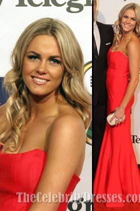 Alyce Taylorレッドストラップレスウエディングドレス2012 NRL Dally M賞レッドカーペット