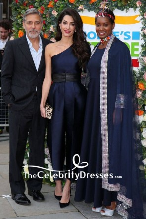 Amal Clooney Dark Navy One-shoulder Satin Jumpsuit 2019