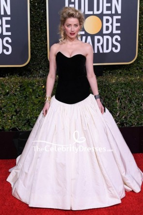 Amber Heard Black And Ivory Strapless Ball Gown Golden Globes 2019 Red Carpet